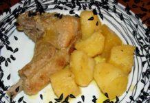 Μπριζόλες χοιρινές λεμονάτες με πατάτες στην κατσαρόλα